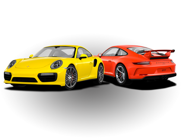 Yellow 911 Turbo and Orange 911 GT3
