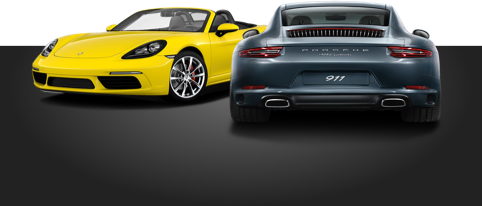 Mid vs Rear Gray 718 Boxster and Yellow 911 Carrera